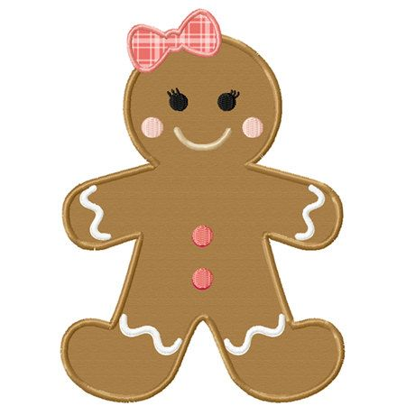 Christmas Gingerbread Girl Applique Machine Embroidery Design INSTANT DOWNLOAD Professionally Digitized Super Cute!  Buy 3 get 1 design FREE on Etsy, $3.49
