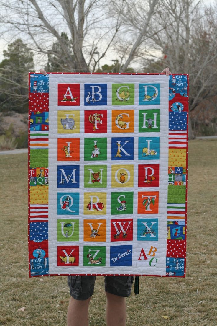 This Quilt Was Made From A Dr Seuss Abc Quilt Panel With
