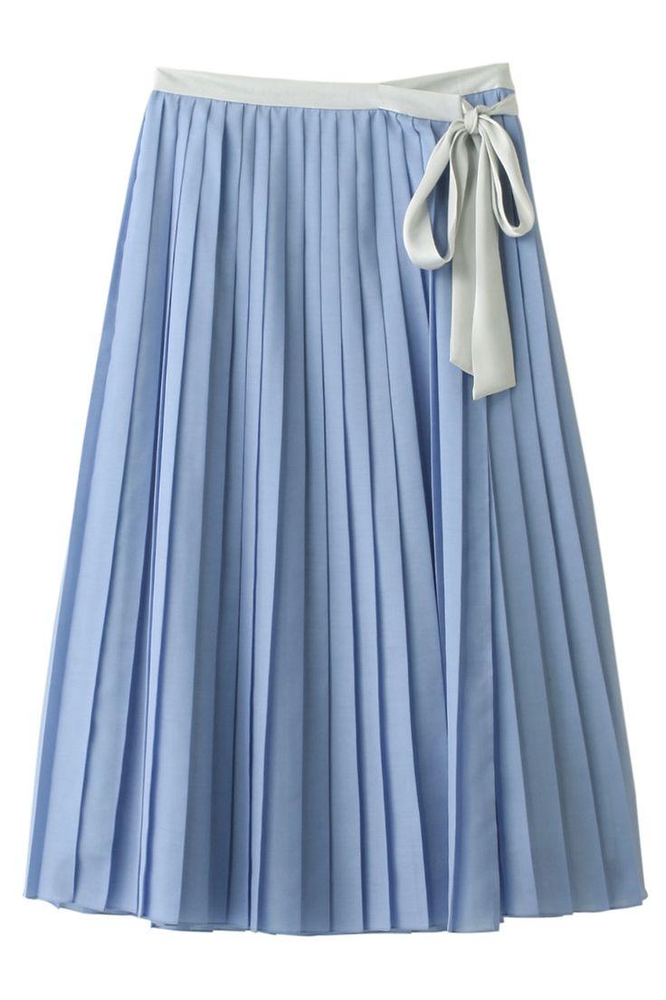 【ELLE SHOP】ラッププリーツスカートブルー デザインワークス(DESIGNWORKS) エル・ショップ