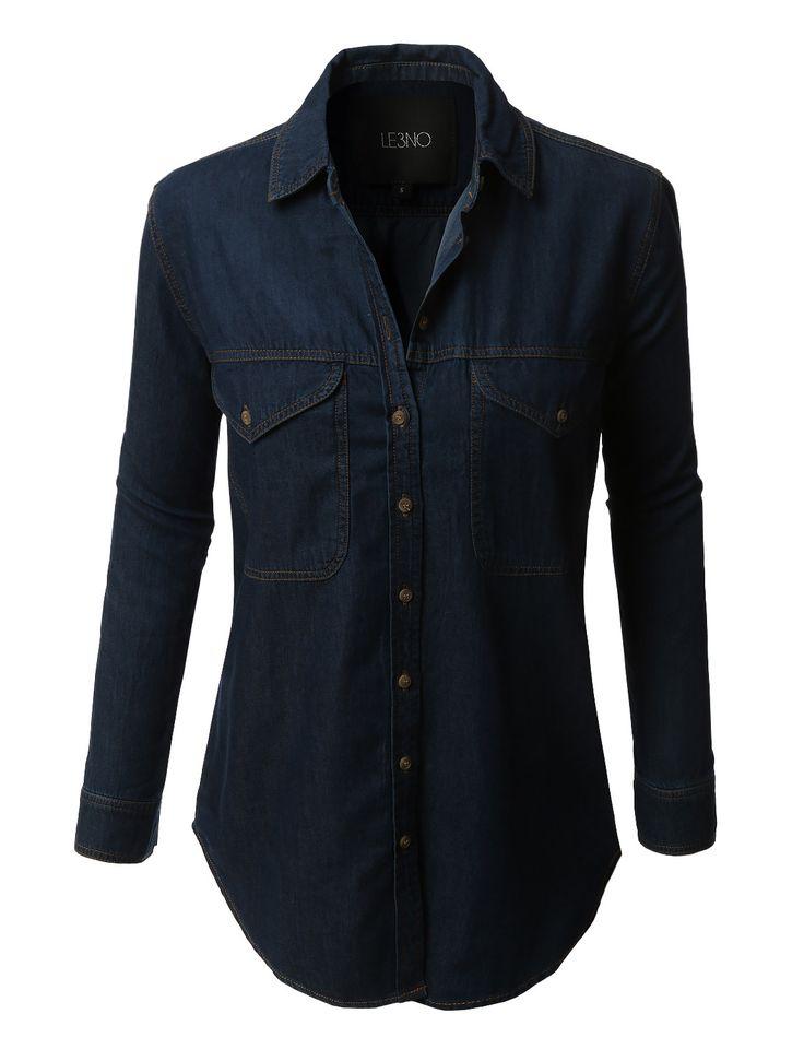 LE3NO Womens Boyfriend Denim Jean Button Down Shirt with Pockets