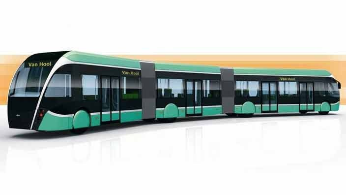 """""""Super Bus"""" 18 meters, biogas/electric hybrid, planned to service Malmö by the start of 2014."""