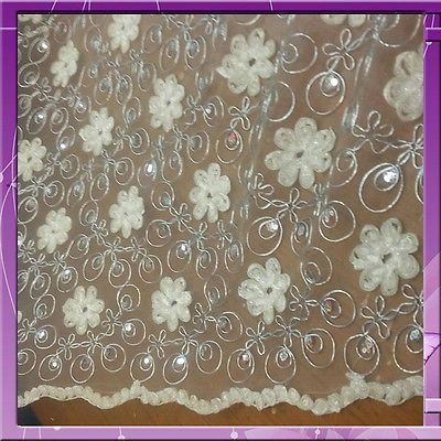FLOWER / FLORAL LACE SEQUIN FABRIC 53 INCHES WIDE SOLD BY THE YARD IVORY