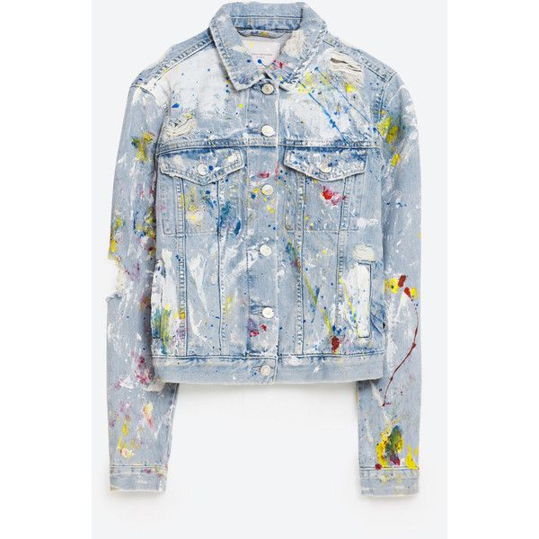 PAINTED DENIM JACKET - NEW IN-TRF | ZARA United States ($70) ❤ liked on Polyvore featuring outerwear, jackets, blue denim jacket, blue jean jacket, denim jacket, blue jackets and jean jacket