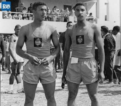 Talented twosome: Neville Virgil, left, and twin brother Neil at St George's Cricket Club in the 1960s (File photograph)