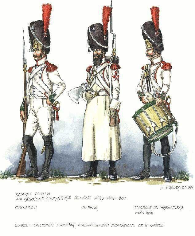 Italy; 1st Line Infantry, Grenadier, Sapper, Grenadier Drummer, c.1808