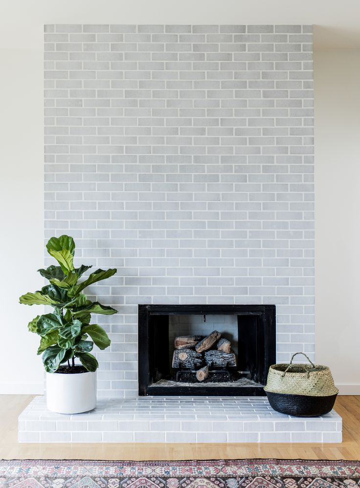 Mid Century Modern Fireplace Surround In Winter Mountains Glazed Thin Brick Fireplace Tile Freestanding Fireplace Glazed Brick