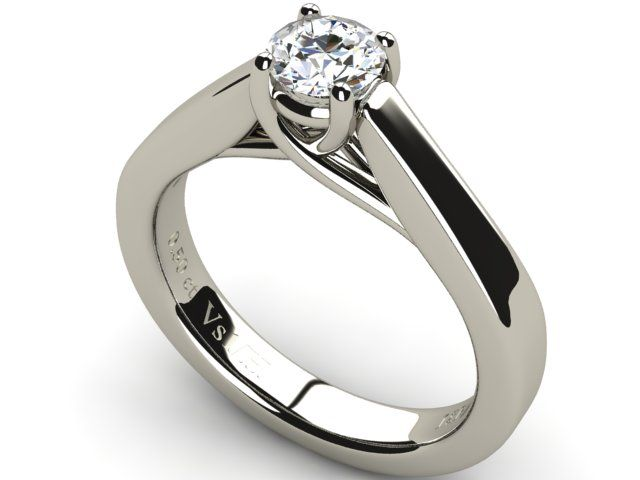 18K White Gold Solitaire Ring with Diamond 0.50 ct Vs1/H - Paul Jewelry