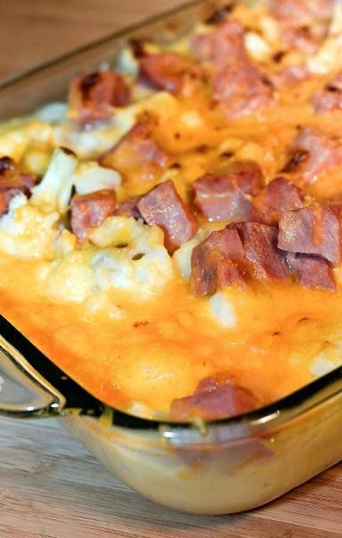 """Low carb, gluten free. HAM """"MOCK MAC"""" AND CHEESE CASSEROLE This is one if the most delicious dishes I have ever made--low carb or not. Soooo comforting and satisfying. I would use greek yogurt instead of cream. Just call it Ham and Cheese Casserole and no one has to know its low carb."""