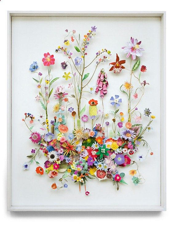 These flower constructions by Anne ten Donkelaar are 3d collages from pressed flowers and cut out flower pictures. Each element is meticulously placed on pins which creates the depth.