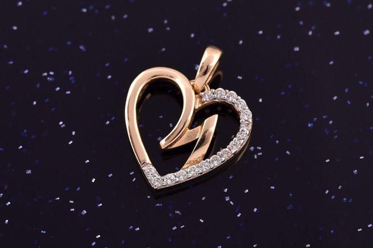 Zlatý přívěsek srdce se zirkony P048 1,40g