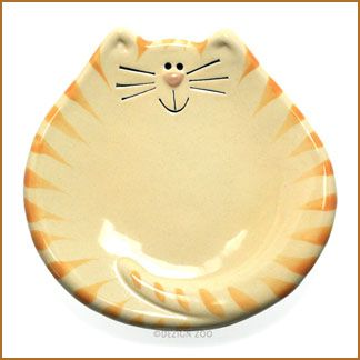 yellow tiger cat plate