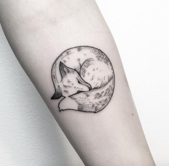 Simple sleeping fox tattoo by Maria Fernandez                                                                                                                                                                                 More