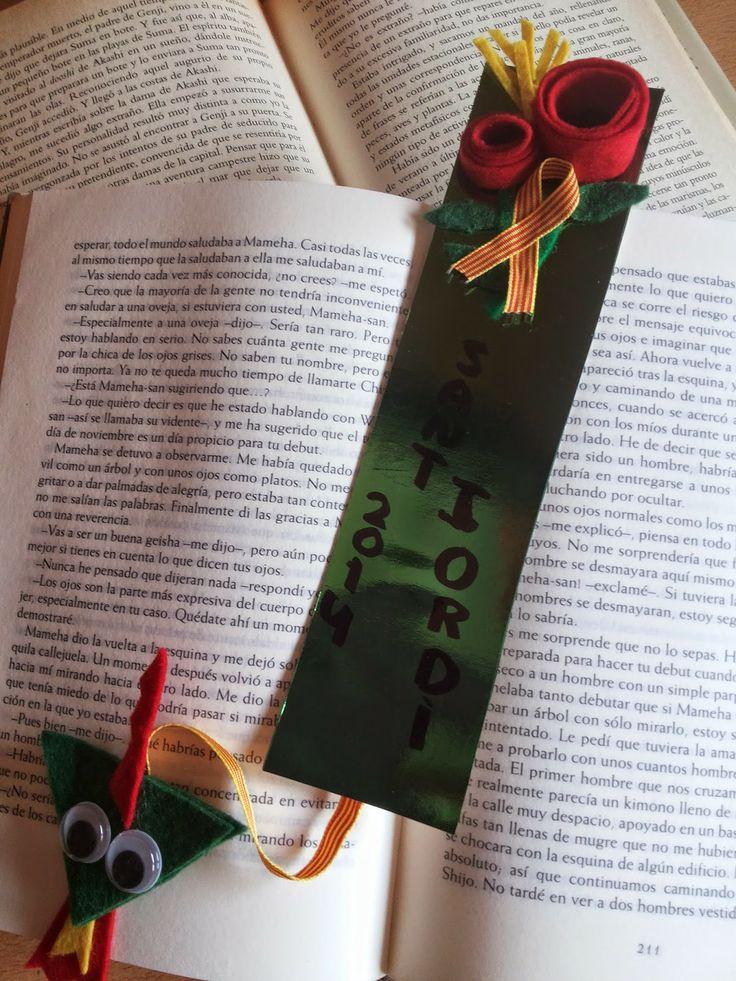 La Maryeta: Sant Jordi 2014 - Punto de libro de Sant Jordi de cartulina y fieltro