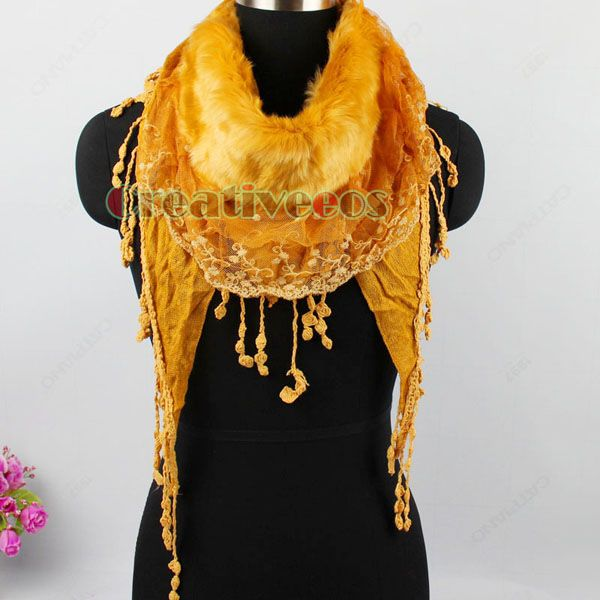 Мода женщин плюшевые искусственного меха цветочные кружева рюшами отделка кисточкой сшивание треугольник шарф стильные дамы зима теплая обруч шали купить на AliExpress