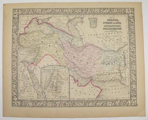 Antique Persia Map Turkey in Asia Iran Iraq Afghanistan Map Palestine Syria 1866 Mitchell Vintage Map Middle East Special Gift Under 100 by OldMapsandPrints on Etsy