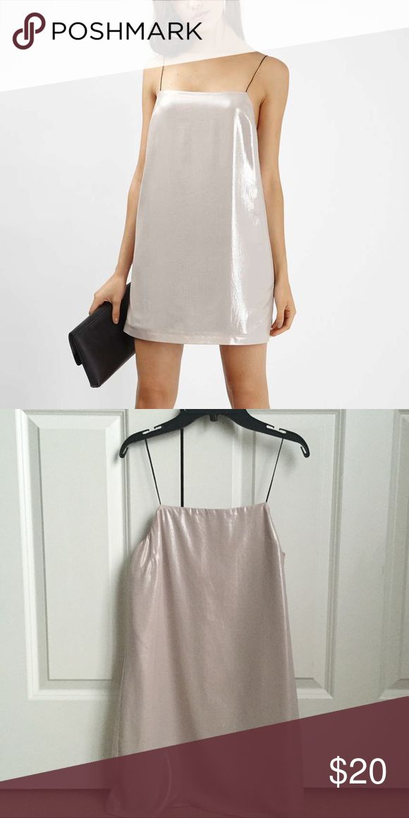 Topshop 90s Metallic Mini Dress Super cute mini dress from Topshop in this metallic color! Great for going out or for a party. Love the square neckline which gives that 90s vibe with a twist. Thin spaghetti straps. Size 2 which will fit an XS. Only wore once. Topshop Dresses Mini