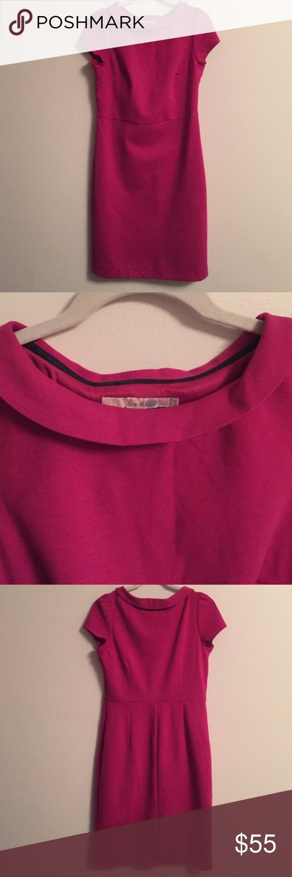 Bright pink Boden dress US 8R NWOT! Gorgeous dress, reposhing- never worn, only tried on (sadly a but tight on me). I cut the stitch that closed the back slit. Cap sleeves, side zip, fully lined. Boden Dresses Midi