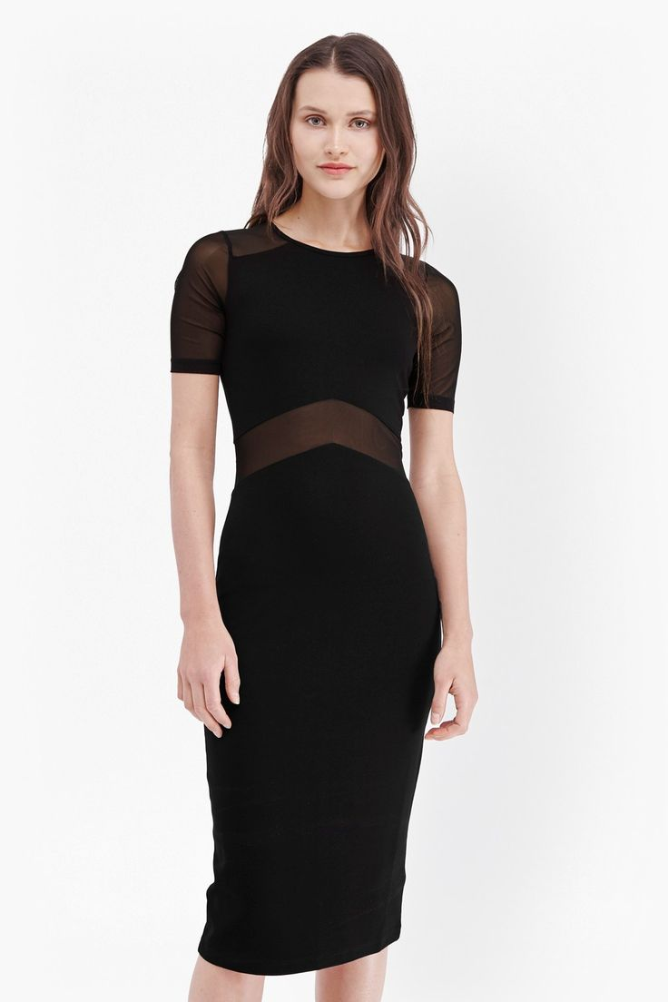 Black dress under knee - Arrow Mesh Insert Bodycon Dress Dresses French Connection Usa