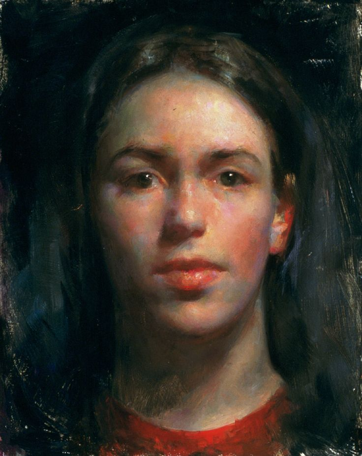 """J's Red Shirt,"" Juliette Aristides    See how good the skin is painted. Full of life and not boring"