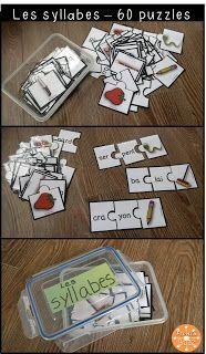 Jeu de puzzles (casse-tête) pour s'amuser avec les syllabes dans les centres de littératie.                                                                                                                                                                                 Plus