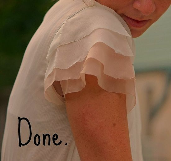 How to add a Flutter sleeve to a sleeveless dress or top, done on the bias in layers of chiffon, very romantic.