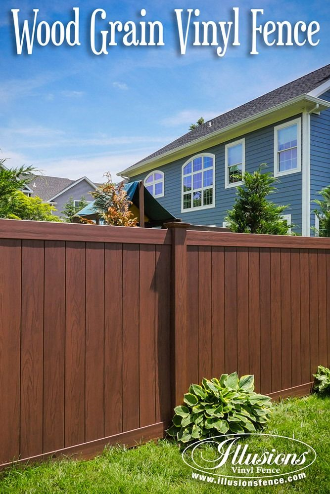 Fence Ideas That Add Curb Appeal. Rosewood PVC Vinyl Wood Grain Privacy Fence Panels From Illusions Vinyl Fence Increase Curb Appeal While Reducing Maintenance. #fence #ideas #homedecor #backyardideas