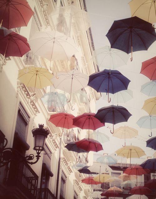 Umbrellas in the air.