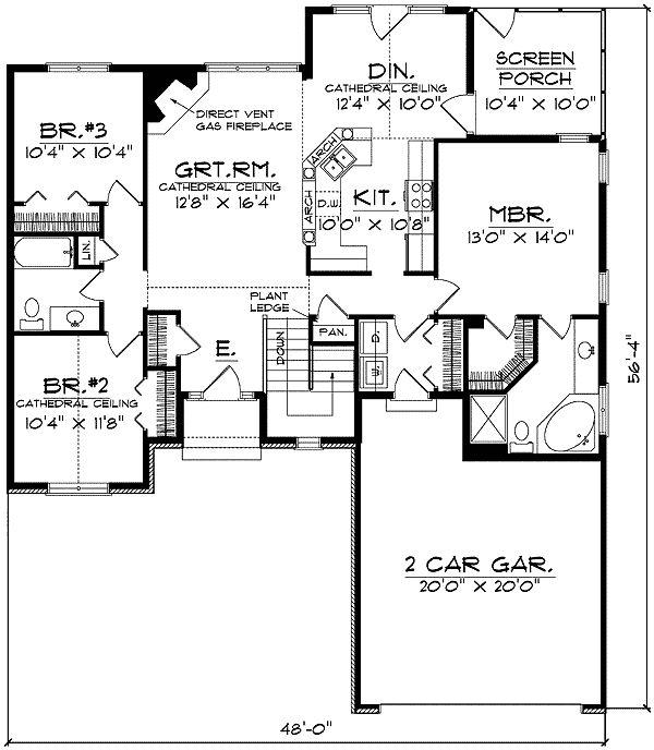 136 best small house plans images on pinterest little for Ranch split bedroom floor plans