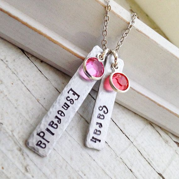 Custom Mothers Necklace Childrens Names Birth Stones Birthstones new Mom gift baby shower quote motherhood pendant Boogie font