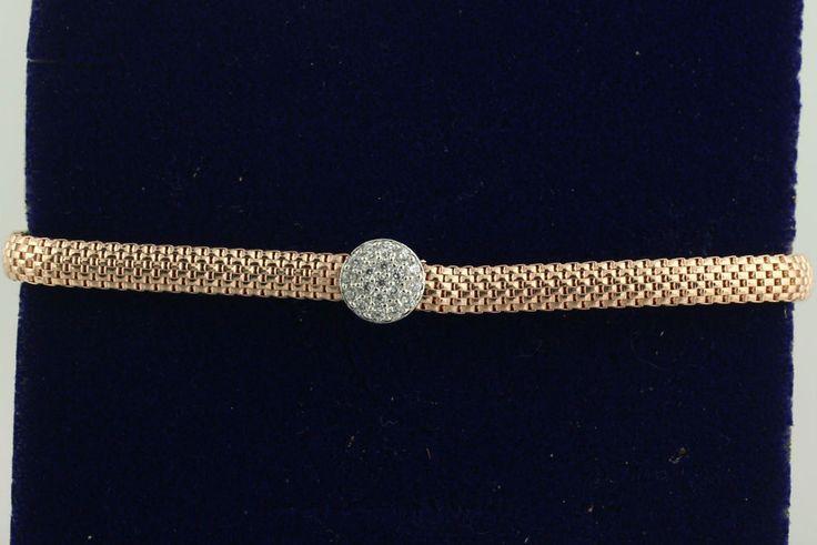 925 Sterling Silver Two Tone Rose Gold PL Flexible Bangle CZ Bracelet ITALY
