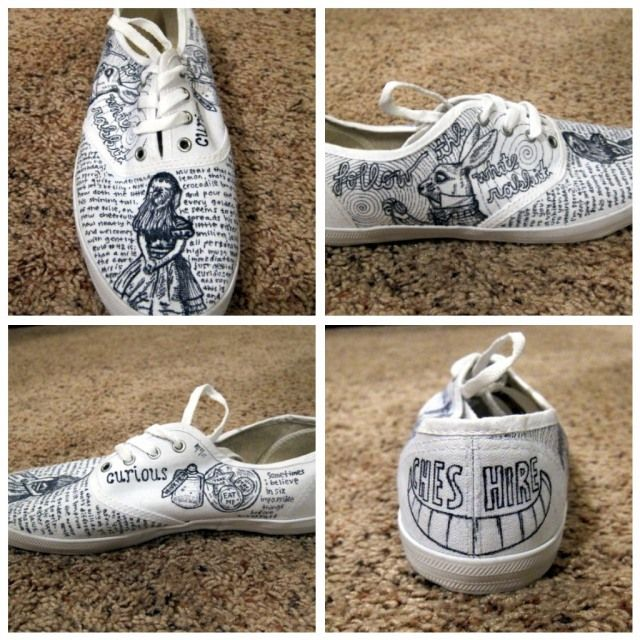 DIY Alice in Wonderland Sharpie Shoes - via Heart Tree Home