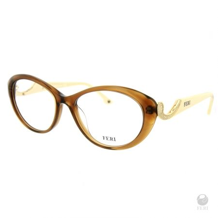 FERI - Oslo Beige - Optical - Beige acetate optical glasses - Embellished with Gold toned metal and clear stones - FERI logo on both outer arms - Cat-eye frame shape - Comes with non-prescription plano Lens - Incredibly unique styling will turn heads Invest with confidence in FERI Designer Lines. www.gwtcorp.com/ghem or email fashionforghem.com for big discount