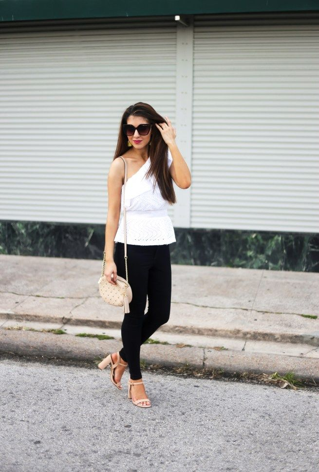 One Shoulder Eyelet Ruffle Top White Top. White Summer Top. Ruffle Top. Lace Top. White Lace Top. Black Skinny Jeans. Block Heels. Express Clothing.