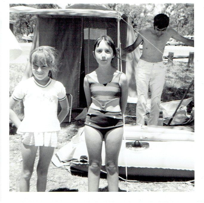 Suzy with childhood friend, Sandra, getting ready for a dip!