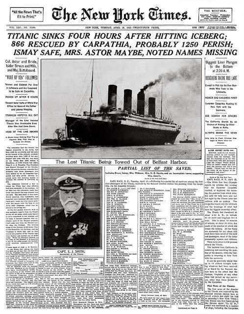 The front page of The New York Times of April 16, 1912, after the Titanic disaster.