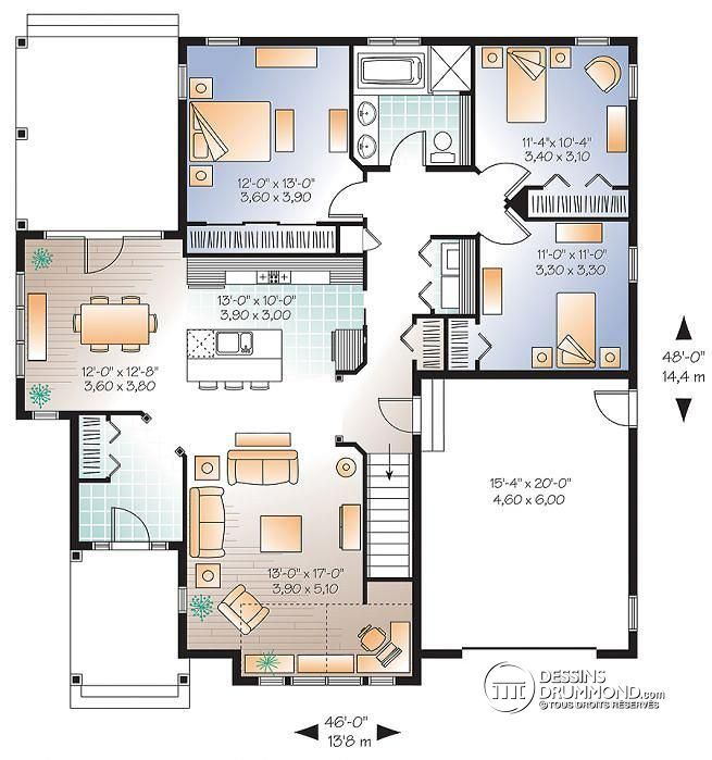 906 best maison images on Pinterest Design homes, Front room - plan de maison 100m2
