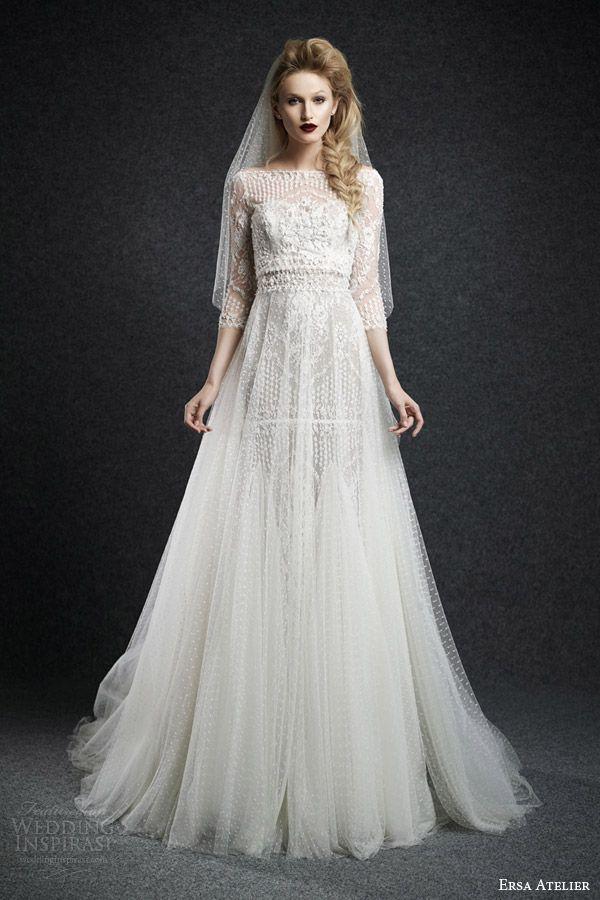 ersa atelier wedding dresses fall 2015 bridal cassandra bateau neck wedding dress sheere tulle overlay skirt