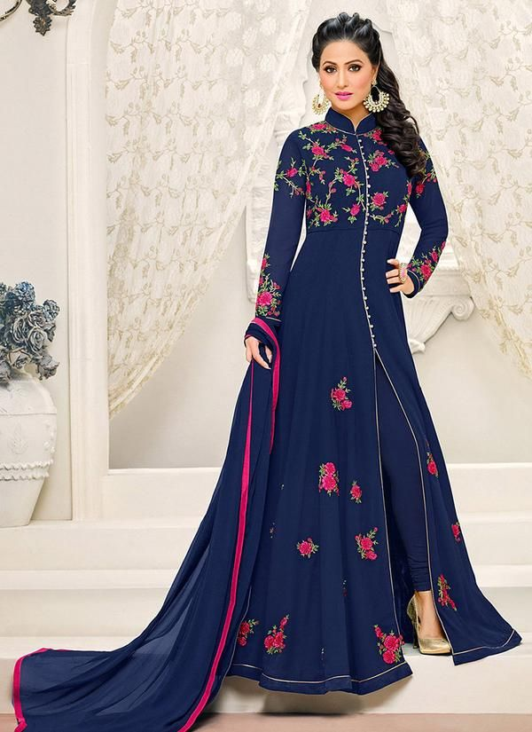 Chinese Collared Abaya Style Suit in Navy Blue