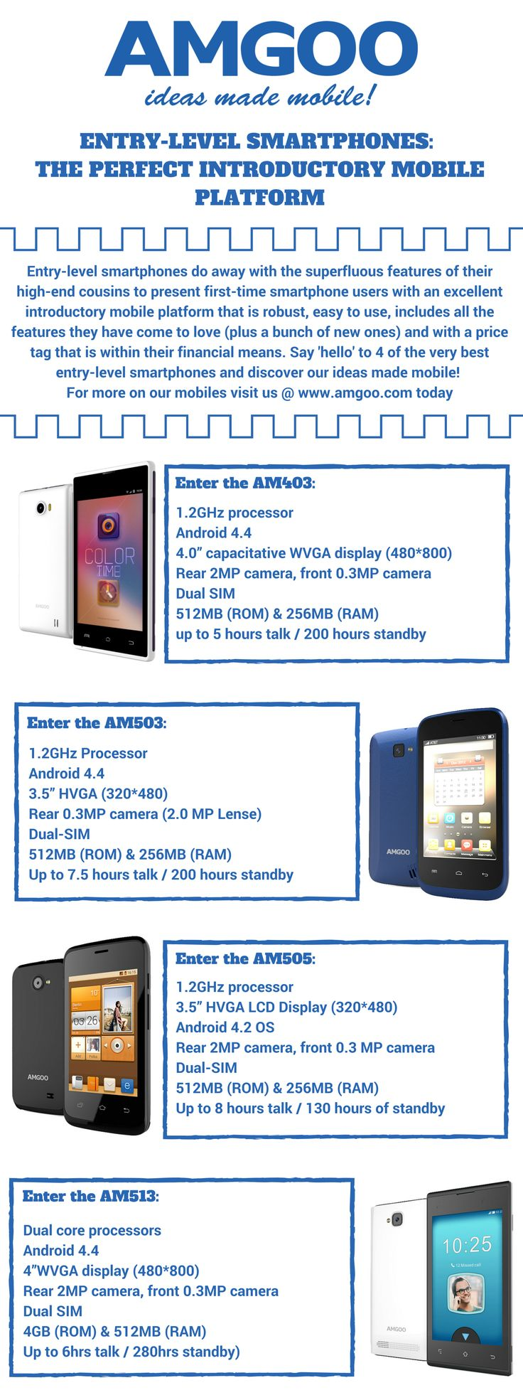 Entry-level smartphones are the perfect introductory mobile platform for first-time smartphone users around the world! Discover 4 of the very best of our entry-level offerings here and visit us @ http://www.amgoo.com/ for more of our mobiles! #AMGOO #EntryLevelSmartphones