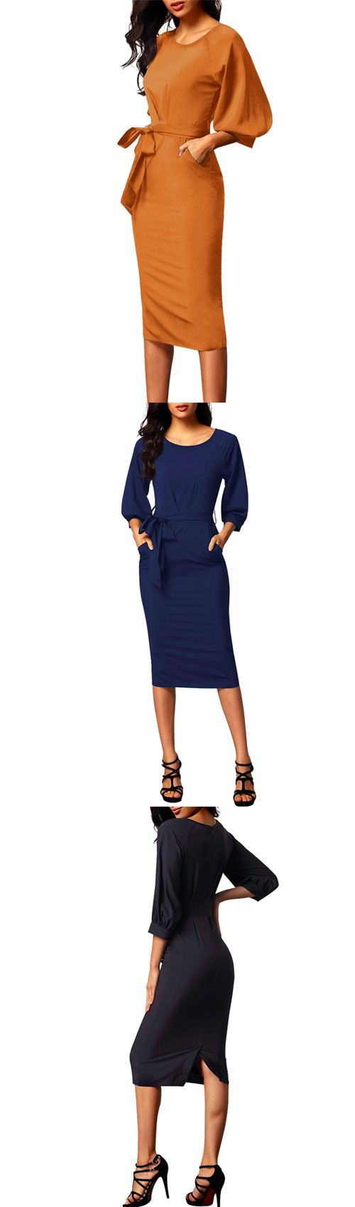 Women's Party Simple Round Neck Midi 3/4 Length Sleeves Bodycon Dress