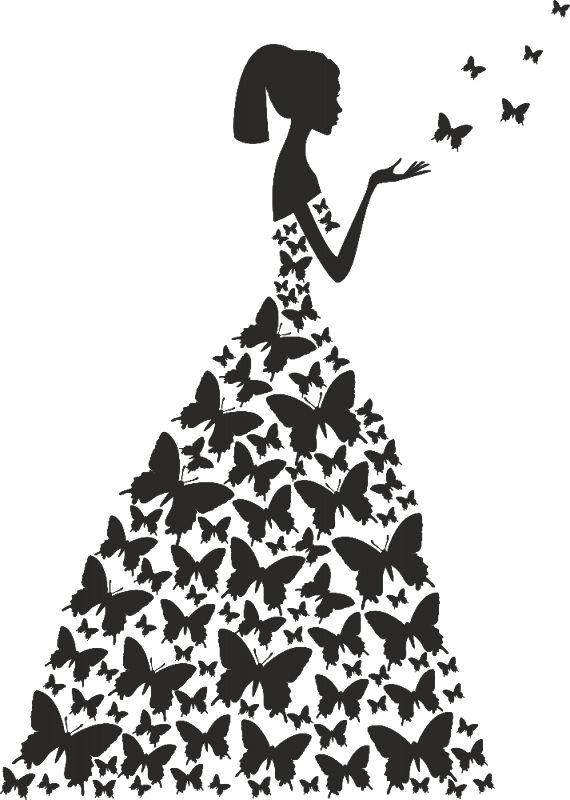 Платье девушка трафарет