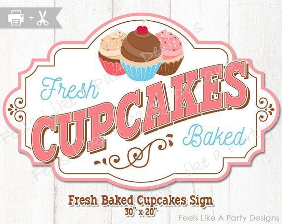 Cupcake Sign Diy Instant Download Carnival Signs Cupcake