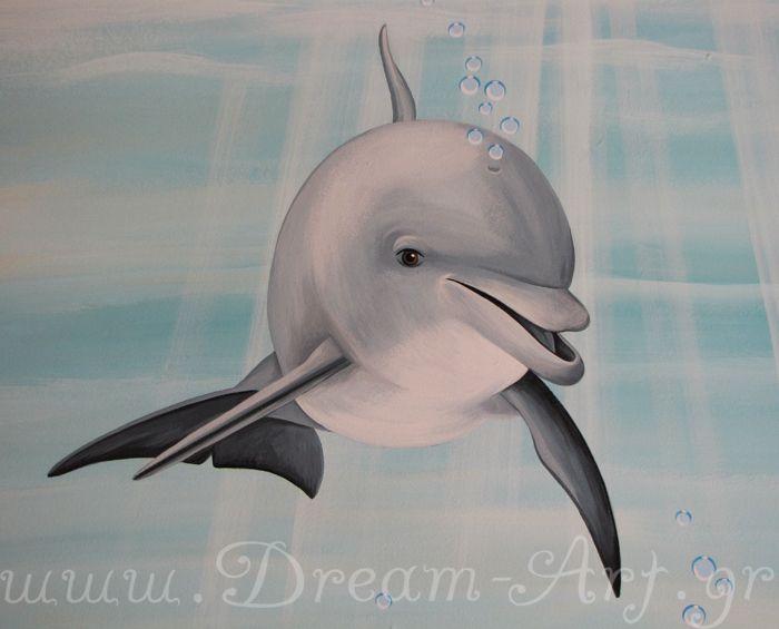 Χαρούμενο δελφίνι στον τοίχο παιδικού δωματίου