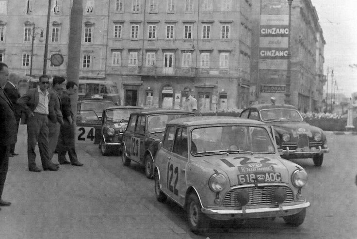 Factory entered Mini's for the 1960 Acropolis rally .. car No.122 driven by Sutcliffe / Astle , finished 31st o/a .. No.120 driven by Ozanne / Allison , DNF>ball joint .. No.124 driven by Milne / Bradley , finished 16 o/a .