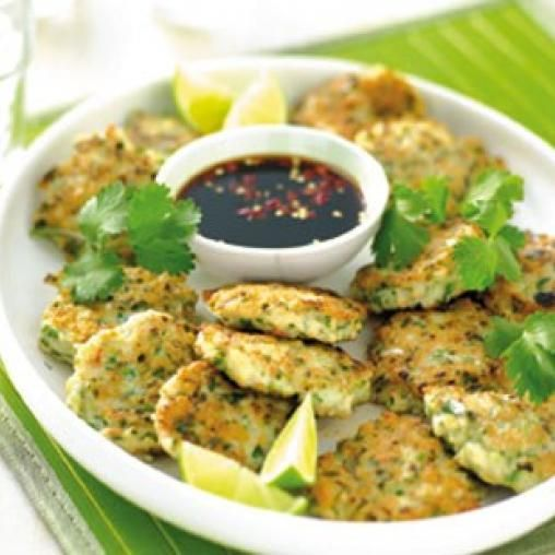 Seafood and coriander patties with chilli dipping sauce   Australian Healthy Food Guide