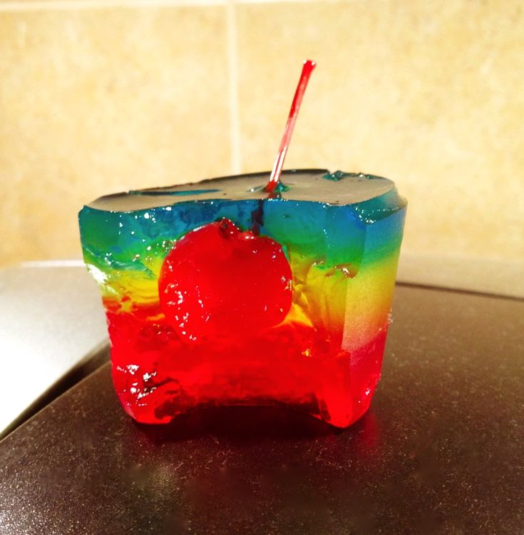 Rainbow Jello Shots    You Need:    6 packets of Knox unflavored gelatin    1 4 serving box blue, red and yellow colored Jello-o    3 Cups of citrus flavored vodka (if this is unavailable, regular vodka works just as well)    3 Cups of water