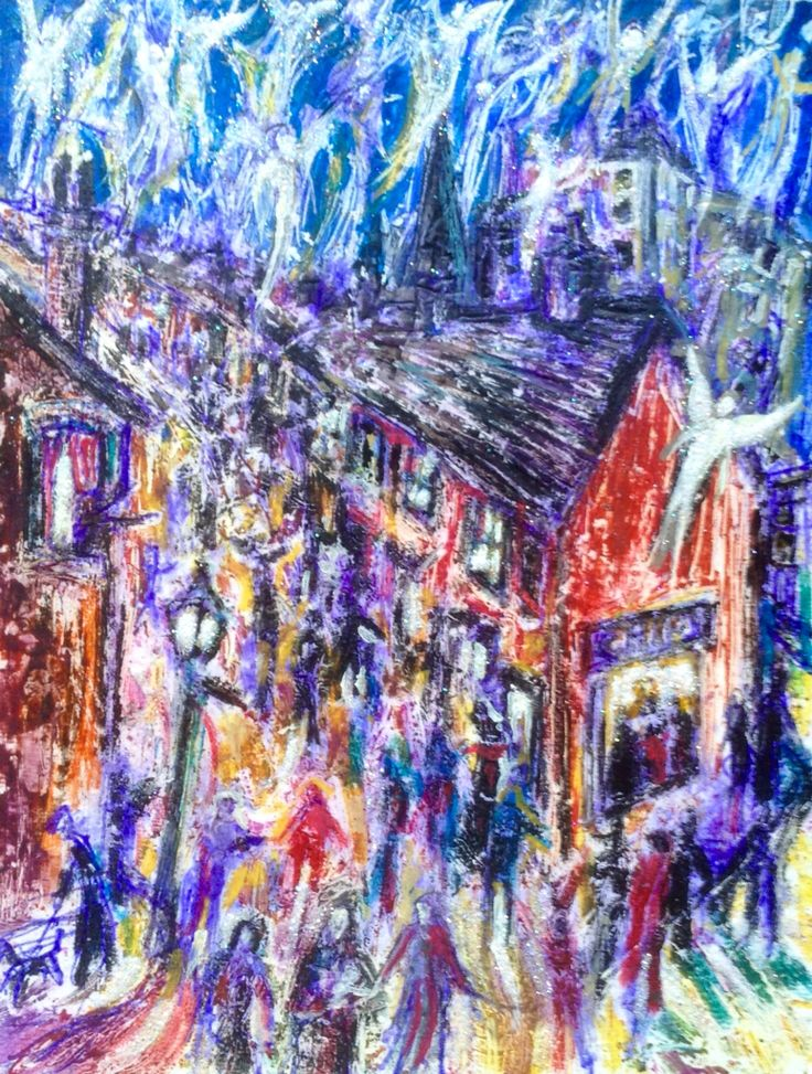Long Row study,oil pastel and pen on card.