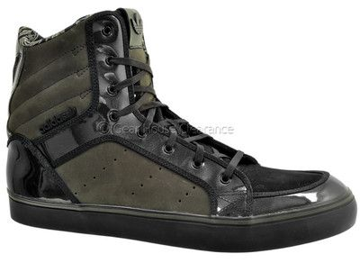 Adidas Originals Chizzle High Mens Hi-Top Shoes, Olive Green / Black, New