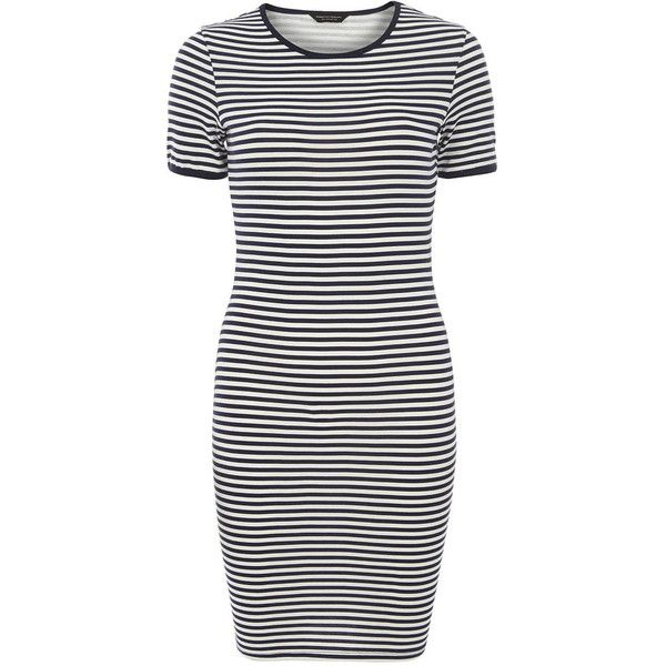 Dorothy Perkins Stripe T-Shirt Dress ($11) ❤ liked on Polyvore featuring dresses, vestidos, tops, navy, cotton jersey, cotton t shirt dress, tshirt dress, navy blue dress and cotton dresses