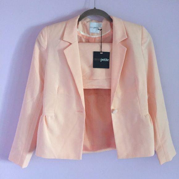 Petite Peach Blazer and Shorts Co-ord Suit Matching pink blazer and shorts set, New With Tag! 73% polyester 20% viscose 7% elastane with 100% polyester lining the blazer. They are exactly the same material and color! ASOS Jackets & Coats Blazers